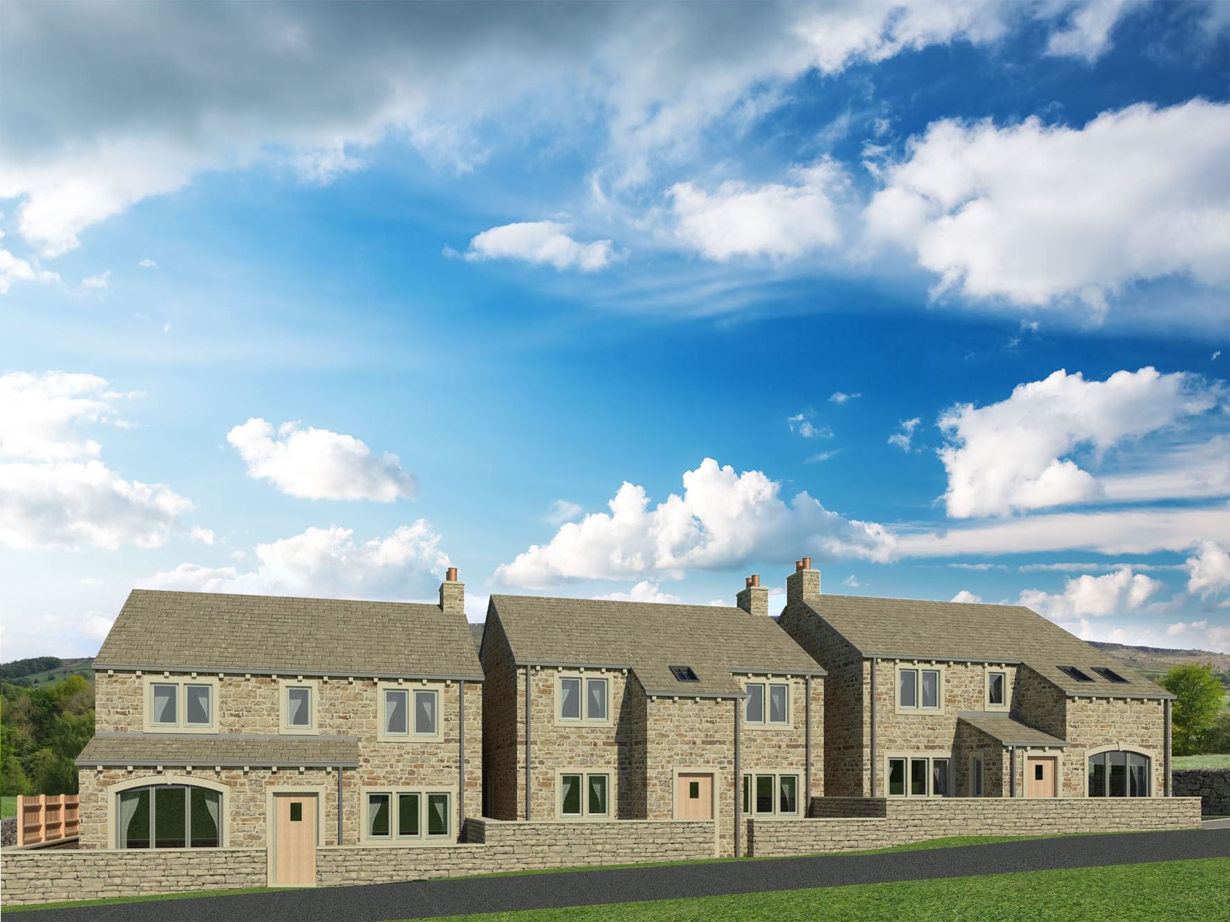 Lumb Mill Farm is a development of three detached new homes of high quality design and specification, with spacious 4 bedroomed accommodation, garages and gardens, close to open countryside, and convenient for the market town of Skipton and the surrounding area.